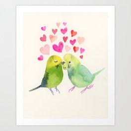 Budgies in Love Art Print