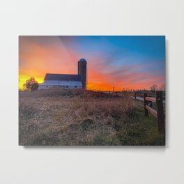 Barn & Silo Metal Print