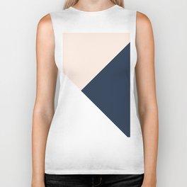 Blush meets Navy Blue & White Geometric #1 #minimal #decor #art #society6 Biker Tank