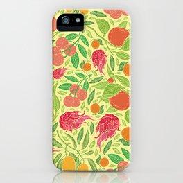 Dragonfruit amoung mango and mandarin on yellow background iPhone Case