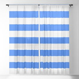 China Blue and White Medium Stripes Sheer Curtain