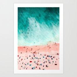 People Crowd On Algarve Beach In Portugal, Crowded Beach, Beach Print, Pink Beach Print, Art Print Art Print