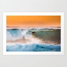 Sunset surfing in Hawaii Art Print