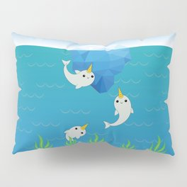Swimming Narwhals Pillow Sham