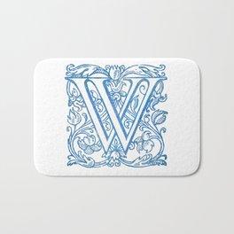 Letter W Elegant Vintage Floral Letterpress Monogram Bath Mat