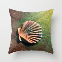 seashell Throw Pillows featuring Seashell by WonderfulDreamPicture
