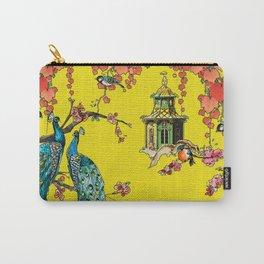 Vintage Oriental Peacocks, Peonies, Birds & Pagodas Print Carry-All Pouch