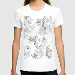 PEACOCK LILY TREE AND LEAF TOILE GRAY AND WHITE PATTERN T-shirt