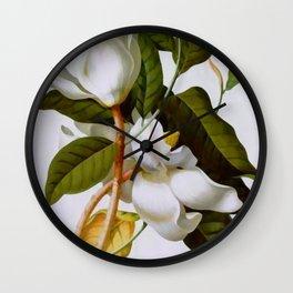 Vintage Botanical White Magnolia Flower Art Wall Clock