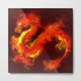 FIRE DRAGON ABSTRACT Metal Print