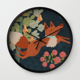 A Fox in The Forest Wall Clock