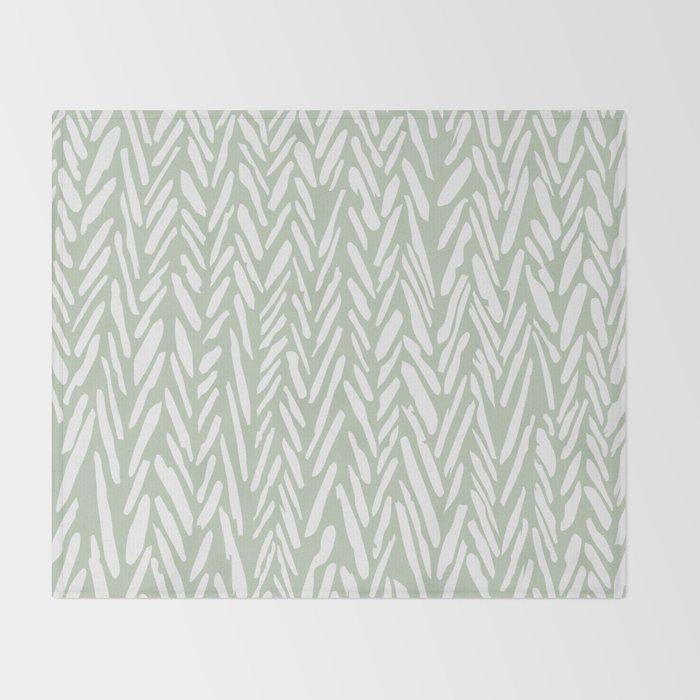 Herringbone mudcloth pattern - light green Throw Blanket