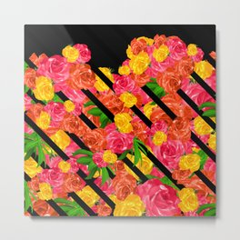 Bold Tropical Spring Floral With Stripes Metal Print