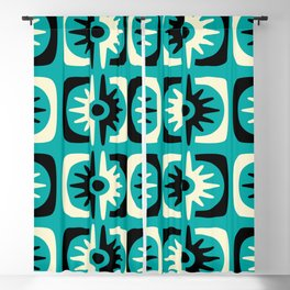 Mid Century Modern Big Bang Pattern Turquoise and Black 2 Blackout Curtain