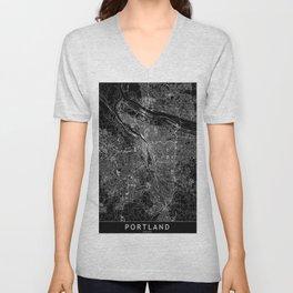 Portland Black Map Unisex V-Neck