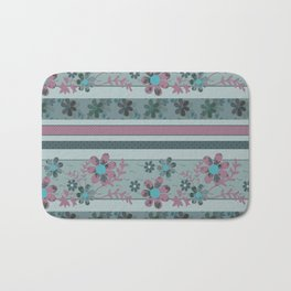 Retro . Turquoise and purple floral pattern . Bath Mat