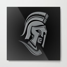 Spartan Warrior Head Metallic Icon Metal Print
