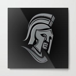 Spartan Warrior Head Metallic Icon Metal Print