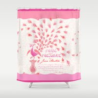 pride and prejudice Shower Curtains featuring Paisley Peacock Pride and Prejudice: Girly by DoodleHeadDee