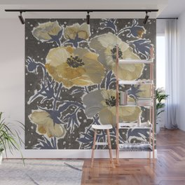 Blue Yellow and Gray Windflowers Wall Mural