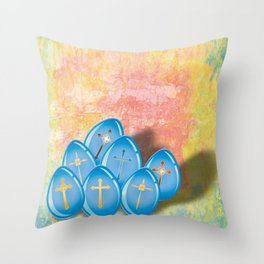 Blue eggs and crosses on pastel textured background Throw Pillow