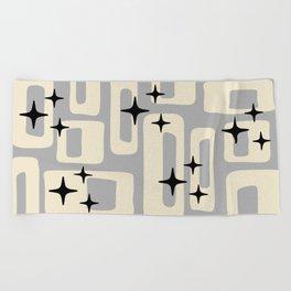 Retro Mid Century Modern Abstract Pattern 576 Gray Black Beach Towel