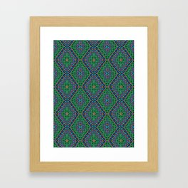 New Delhi #3  Floral Diamonds in Green and Purple Framed Art Print