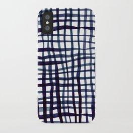 Watercolor doodle gingham - indigo iPhone Case