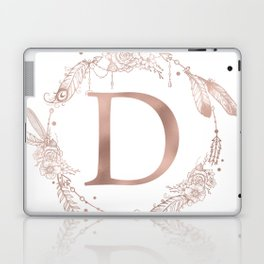 Letter D Rose Gold Pink Initial Monogram Laptop & iPad Skin