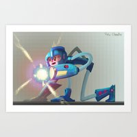 megaman Art Prints featuring Megaman! by RoboChandler