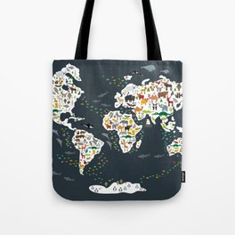 Cartoon animal world map for kids, back to schhool. Animals from all over the world Tote Bag