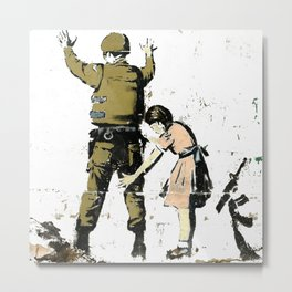 Banksy Soldier And Little Girl Graffiti Art Metal Print