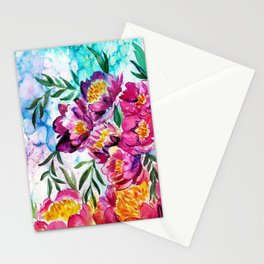 Tree peonies watercolor Stationery Cards
