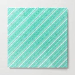 Pretty Aqua Blue & White Diagonal Fade Stripes Metal Print