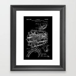 Jet Engine: Frank Whittle Turbojet Engine Patent - White on Black Framed Art Print
