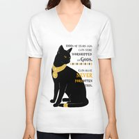 egyptian V-neck T-shirts featuring Egyptian Cat by SwanniePhotoArt