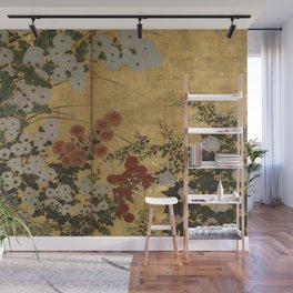 Red White Chrysanthemums Vintage Floral Japanese Gold Leaf Screen Wall Mural
