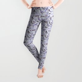 Dragonflies, Butterflies and Moths With Plants on Pale Blue Leggings