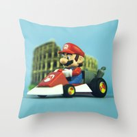 mario kart Throw Pillows featuring Super Mario: the homecoming by josemanuelerre