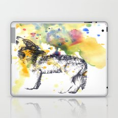 Howling Wolf in Splash of Color Laptop & iPad Skin