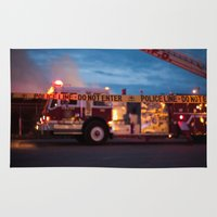 police Area & Throw Rugs featuring Police Line by SShaw Photographic