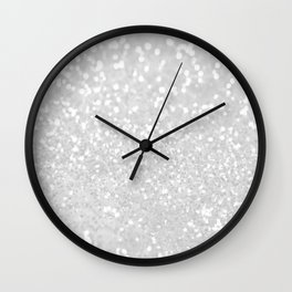 Chic elegant glamour White Faux Glitter  Wall Clock