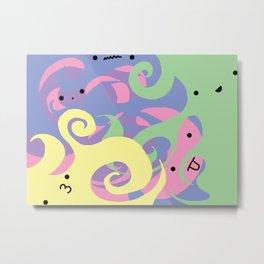 Cute Swirly Faces Metal Print