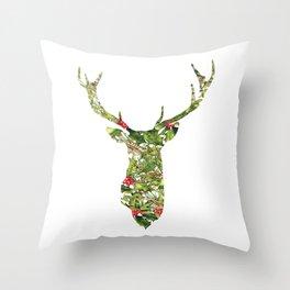 greenery deer Throw Pillow