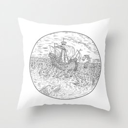 Tall Ship Turbulent Sea Serpents Black and White Drawing Throw Pillow