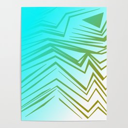 wild blue with gold Poster