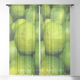 Zesty Limes - Vectorized Photographic Image  Sheer Curtain