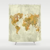 vintage map Shower Curtains featuring  World Map Yellow Vintage by City Art Posters