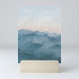Ocean Blue Waves Soft Pink Peach Sunrise Nautical Sea Sailing Abstract Nature Painting Art Print Wall Decor  Mini Art Print