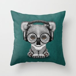 Cute Baby Koala Bear Dj Wearing Headphones on Blue Throw Pillow